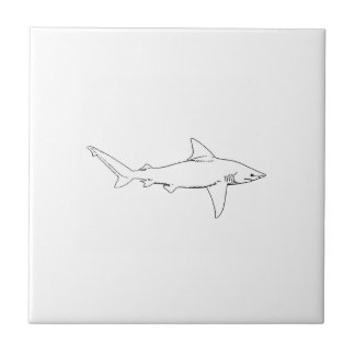 Sandbar Shark Illustration (line art) Tile