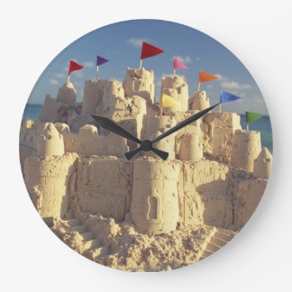 Sandcastle On Beach Large Clock