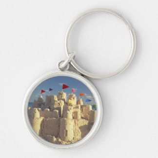Sandcastle On Beach Silver-Colored Round Keychain