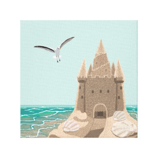 Sandcastle Seagull canvas print