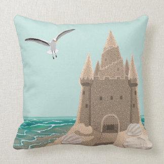 Sandcastle Seagull cotton throw pillow