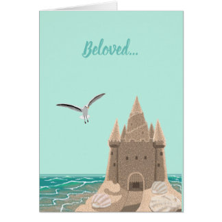 Sandcastle Seagull greeting card