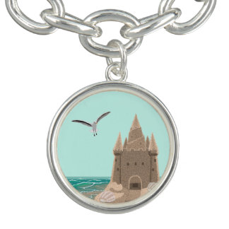 Sandcastle Seagull round charm