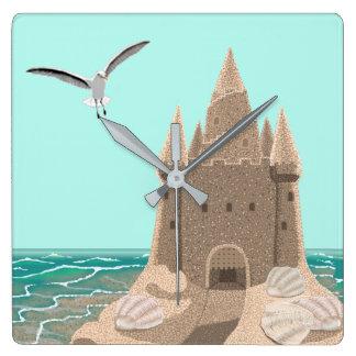 Sandcastle Seagull square wall clock