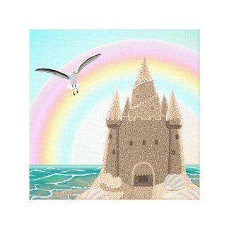 Sandcastle Seagull (with rainbow) canvas print