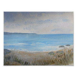 Sanddunes with wild grasses, beach and sea poster