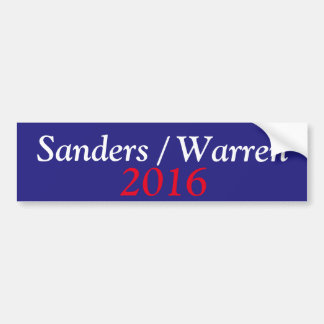 Sanders/Warren 2016 Bumper Sticker