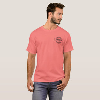 Sandfly Georgia Mens Coral T-shirt with lined logo