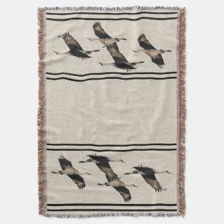 Sandhill Crane Birds Wildlife Animal Stripes Throw