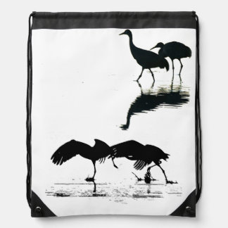 Sandhill Crane Birds Wildlife Animals Drawstring Backpacks