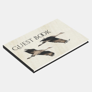 Sandhill Crane Birds Wildlife Flying Guest Book