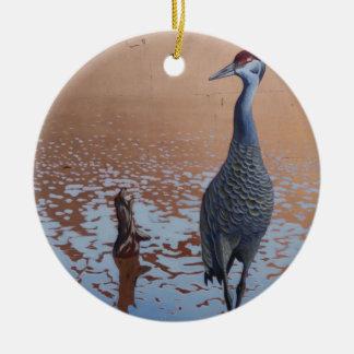 Sandhill Crane Round Ceramic Ornament