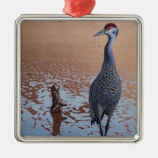 Sandhill Crane Silver-Colored Square Ornament