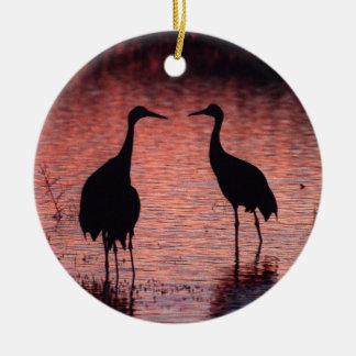 Sandhill cranes ceramic ornament
