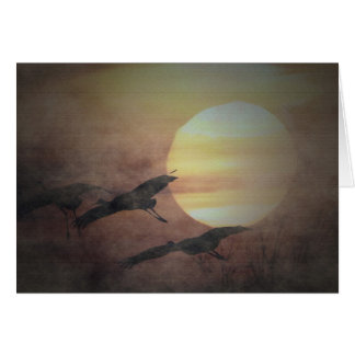 Sandhill Cranes In The Mist Greeting Cards