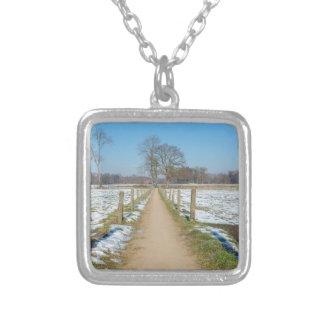 Sandpath between snowy meadows in dutch winter silver plated necklace