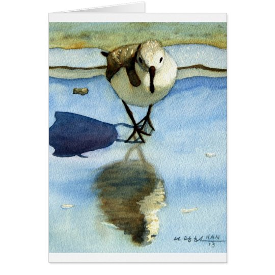 Sandpiper 6, Bird, Ocean, Beach, Nautical, Art Card