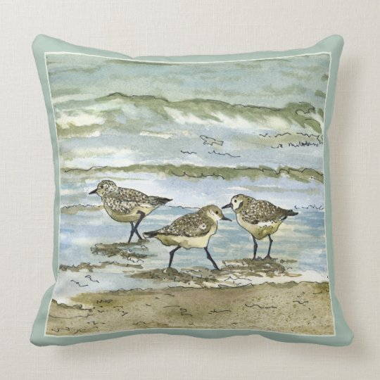 Sandpiper beach birds watercolor in sea blue green throw pillow