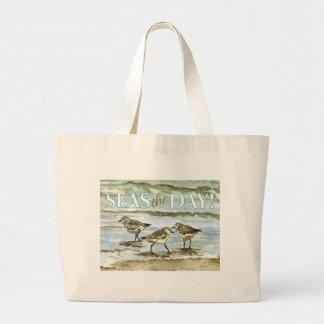 Sandpiper birds beach watercolor large tote bag