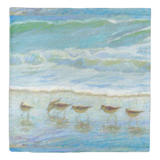 Sandpipers, A Day at the Beach Duvet Cover