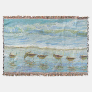 Sandpipers, A Day at the Beach Throw Blanket