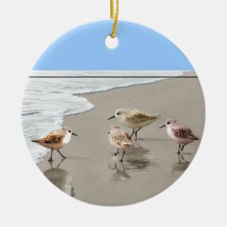 Sandpipers at the Shoreline Ceramic Ornament