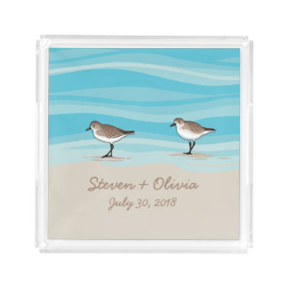 Sandpipers on Beach Wedding Date Names in Sand Acrylic Tray