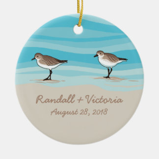 Sandpipers on Beach Wedding Date Names in Sand Ceramic Ornament