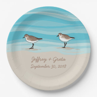 Sandpipers on Beach Wedding Date Names in Sand Paper Plate