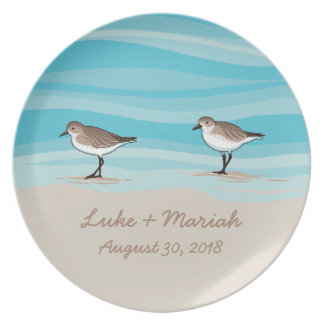 Sandpipers on Beach Wedding Date Names in Sand Plate