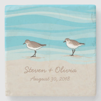 Sandpipers on Beach Wedding Date Names in Sand Stone Beverage Coaster