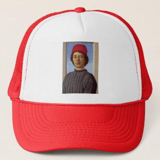 Sandro Botticelli- Portraitof a young man,redcap Trucker Hat