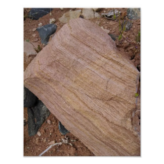 Sandstone boulder, erosion exposes layers poster