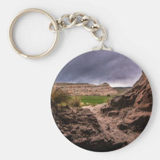 Sandstone Cave In Stormy Weather - Moab - Utah Basic Round Button Keychain