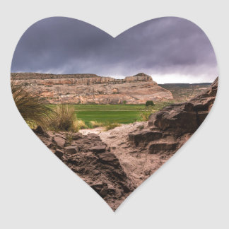 Sandstone Cave In Stormy Weather - Moab - Utah Heart Sticker