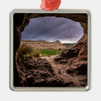 Sandstone Cave In Stormy Weather - Moab - Utah Silver-Colored Square Ornament