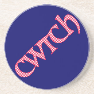 Sandstone Coaster, Welsh Cwtch, Check on Blue Drink Coaster