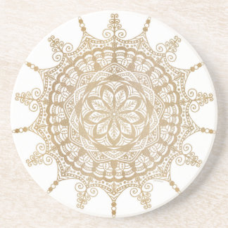 Sandstone Drink Coaster Golden Mandala Design