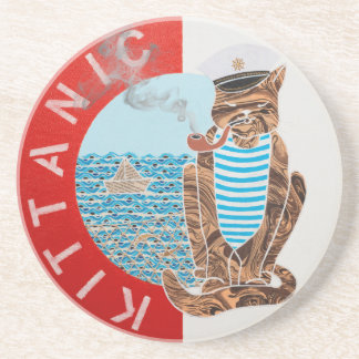 Sandstone Drink Coaster with Captain Cat