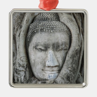 Sandstone head of Buddha surrounded by tree Silver-Colored Square Ornament