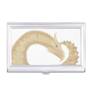 Sandstone heart dragon on white business card holder