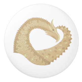 Sandstone heart dragon on white ceramic knob