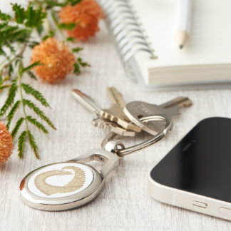 Sandstone heart dragon on white keychain