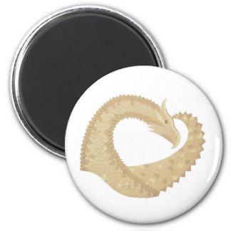 Sandstone heart dragon on white magnet