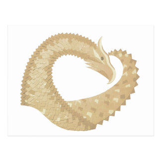 Sandstone heart dragon on white postcard