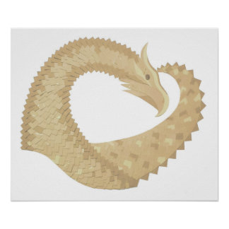 Sandstone heart dragon on white poster