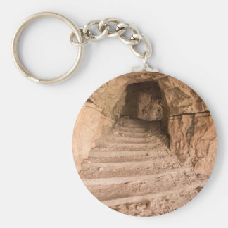 Sandstone Staircase In Abandoned Cave Dwelling Basic Round Button Keychain