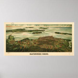 Sandusky Ohio 1898 Antique Panoramic Map Poster