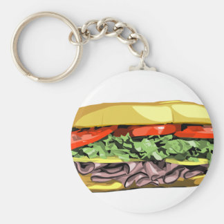 Sandwich Basic Round Button Keychain