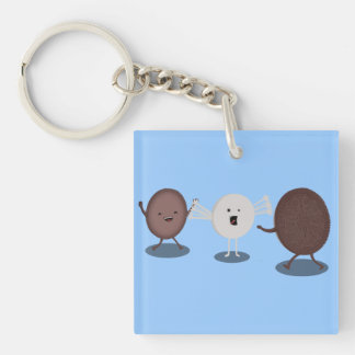 Sandwich Cookie Hugs, that loving filling. Double-Sided Square Acrylic Keychain